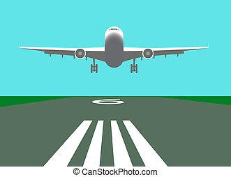 aeroplano, vettore, atterraggio, illustrazione