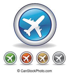 aeroplano, vettore, icona