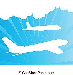 aeroplano, vettore, silhouette, fondo