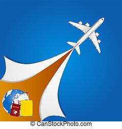 aeroplano, viaggiare, illustrazione, segno