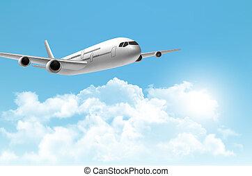 aeroplano., viaggiare, vector., fondo