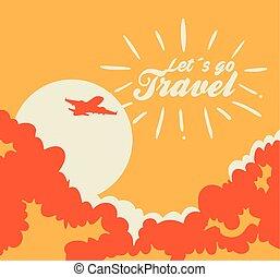 aeroplano, volare, manifesto, viaggiare