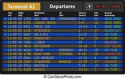 aeroporto, cartolina partenza