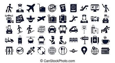 aeroporto, fascio, set, icone
