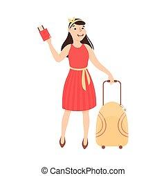 aeroporto, giovane, illustrazione, turista, vacanza, biglietti, valigia, aereo, andare, viaggio, vettore, cartone animato, ragazza, donna
