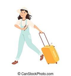 aeroporto, giovane, illustrazione, turista, vacanza, correndo, valigia, andare, cartone animato, vettore, volo, ragazza, fretta, estate, donna