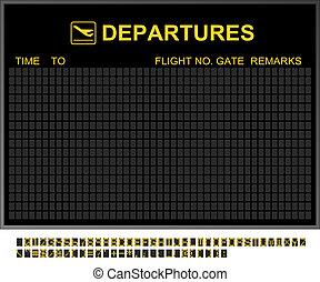 aeroporto internazionale, partenze, vuoto, asse