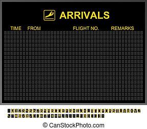aeroporto internazionale, vuoto, arrivi abbordano