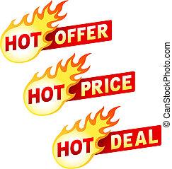 affare, adesivo, offerta, caldo, fiamma, prezzo, tesserati magnetici