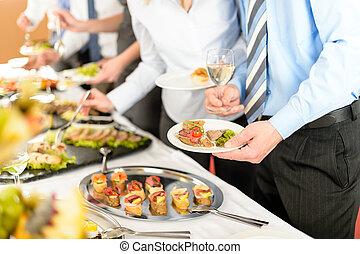 affari, antipasti, prendere, buffet, persone
