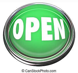 affari, apertura, bottone, rotondo, inizio, verde, premere, aperto, o