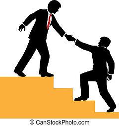affari, arrampicarsi, aiuto, successo, persone