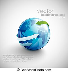 affari blu, globo, frecce, disegno, concetto