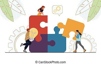 affari, brainstorming, pezzo, persone, puzzle, collegare