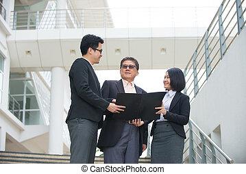 affari, ceo, squadra ufficio, segnalazione, asiatico, anziano, backgrou