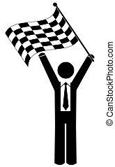 affari, checkered, uomo, bandierina ondeggiamento
