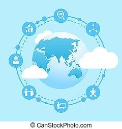 affari, collegare, umano, risorsa