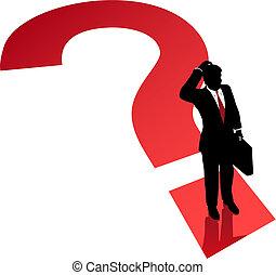 affari, confusione, decisione, punto interrogativo, problema, uomo