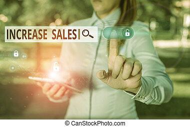affari, cycle., showcasing, scrittura, foto, alto, esposizione, sales., completato, clienti, vendite, nota, aumento, numero