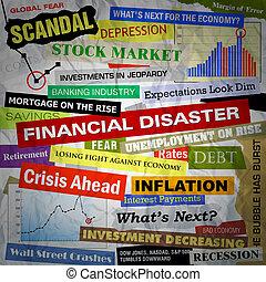 affari, disastro, titoli, finanziario