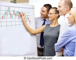 affari, discussione, buffetto, asse, squadra, detenere