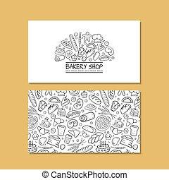 affari, ditta, idea, panetteria, disegno, cartelle