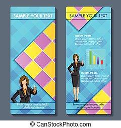 affari donna, disegno, completo, opuscolo, corporativo, formale