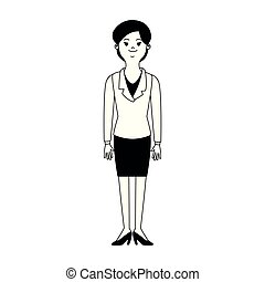 affari donna, esecutivo, nero, bianco, cartone animato