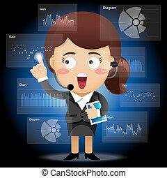 affari donna, lavorativo, elaborazione, dati, felice