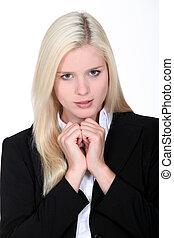 affari donna, risultato, biondo, intervista, attendere