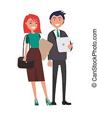 affari donna, riuscito, coppia, elegante, uomo