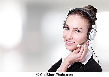 affari donna, servizio, cliente, lavoratore