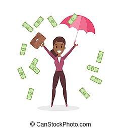 affari donna, soldi, circondato, saltare, felice