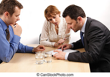 affari donna, sopra, uomini, due, contratto, uno