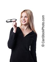 affari donna, su, dall'aspetto, tenere vetri