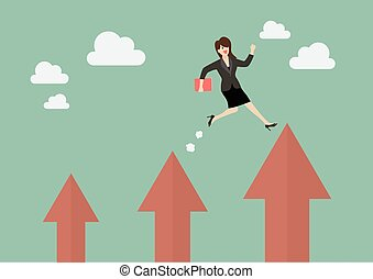 affari donna, su, saltare, freccia, più alto