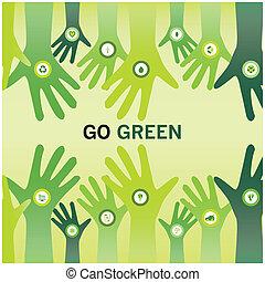 affari, eco, amichevole, applauso, verde, mani, andare, mondo, sostenibile, o