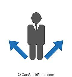 affari, fabbricazione, decisione, direzione, uomo affari, malinconico, o, concept., scegliere, strategia