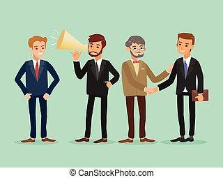 affari, felice, persone, caucasico, standing, hipster, cartone animato, illustrazione