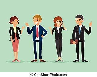 affari, felice, persone, standing, cartone animato, illustrazione