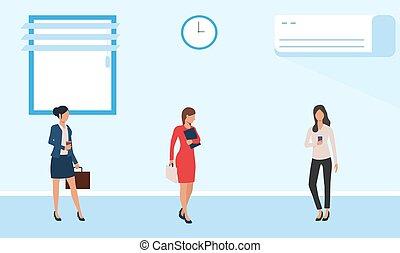 affari, femmina, stanza conferenza, riunione