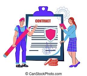 affari firmano, contratto, o, accordo, isolated., persone, cartone animato, vettore, documento