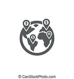 affari, globale, fondo, icona, bianco