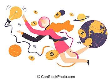 affari globali, lavoratore, idee generatrici, finanze, produttività