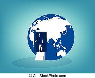 affari, globe., illustration., porta, donna d'affari, aperto, vettore, concetto