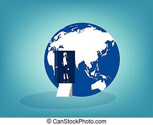 affari, globe., illustration., porta, robot, aperto, vettore, concetto