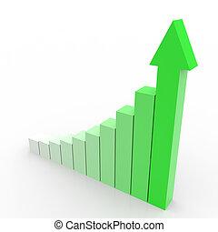 affari, grafico, su, arrow., andare, verde