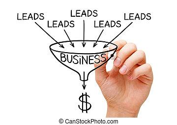 affari, imbuto, generazione, vendite, concetto, piombo