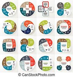 affari, infographic, diagramma, 4, cerchio, opzioni