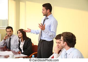 affari, informale, -, capo, discorso, riunione, uomo